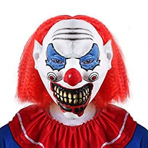 UNOMOR Halloween Scary Clown Mask with Red Hair for Adults Costume Party $6.78