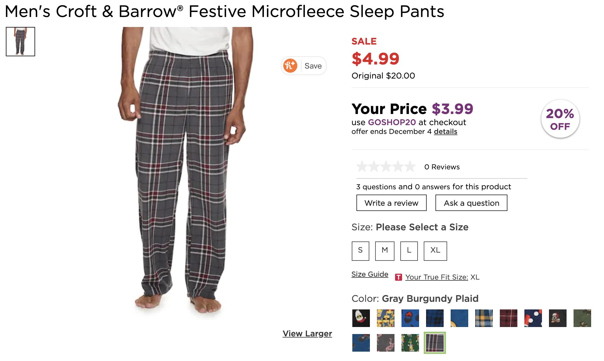 Men's Croft & BarrowFestive Micro-fleece Sleep Pants $4 + Free store pickup
