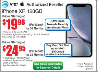 Iphone XS, XR (ATT) after $200 off towards installments B&M