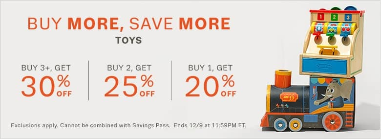 Lord & Taylor stacking discounts on toys 20% on 1, 25% on 2, 30% on 3 + Additional 20% off