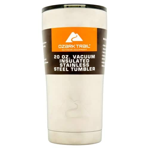 Ozark Trail 20-Ounce Double-Wall, Vacuum-Sealed Tumbler (Orange Blaze or Red) $5