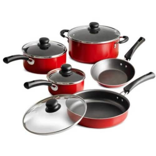 Tramontina 9-Piece Simple Cooking Nonstick Cookware Set (Red) $13.99