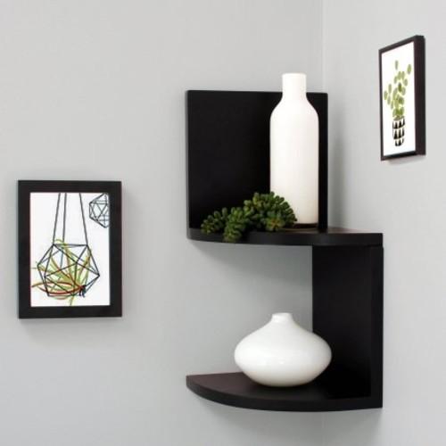 "Kiera Grace Priva 7"" Corner Shelves, Black, Set of 2 $8.97"