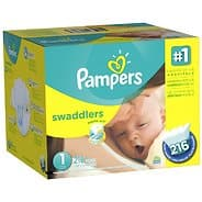 Pampers Swaddlers Diapers Economy Pack - Size: 1 - 216 Count $20.50
