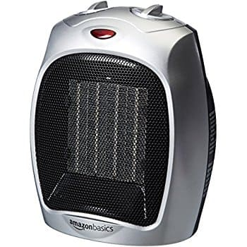 AmazonBasics 1500 Watt Ceramic Space Heater with Adjustable Thermostat - Silver $19.99