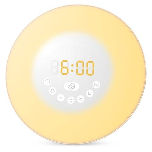 ORIA Wake Up Light Night Light with 7 Natural Music and FM Radio $9.87