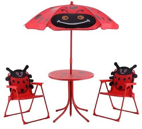 Costway Kids Patio Set Table And 2 Folding Chairs w/ Umbrella Beetle Outdoor Garden Yard $32.99