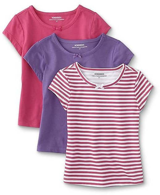 WonderKids Infant & Toddler Girls' 3-Pack T-Shirts - Striped $4.99