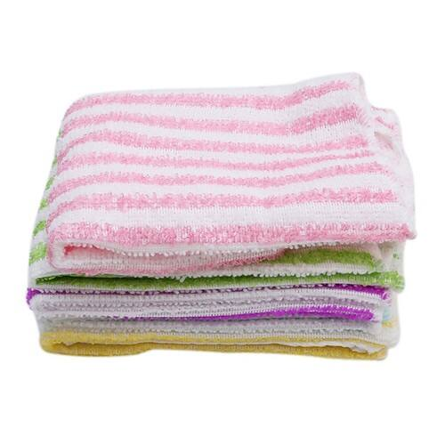 UNKE 5Pcs Kitchen Dining Striped Wash Towel Absorbent Square Microfiber Dishcloth $2.93