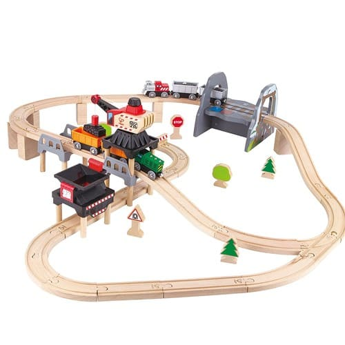 Hape Kids Wooden Railway Working on the Railroad Set $39.16
