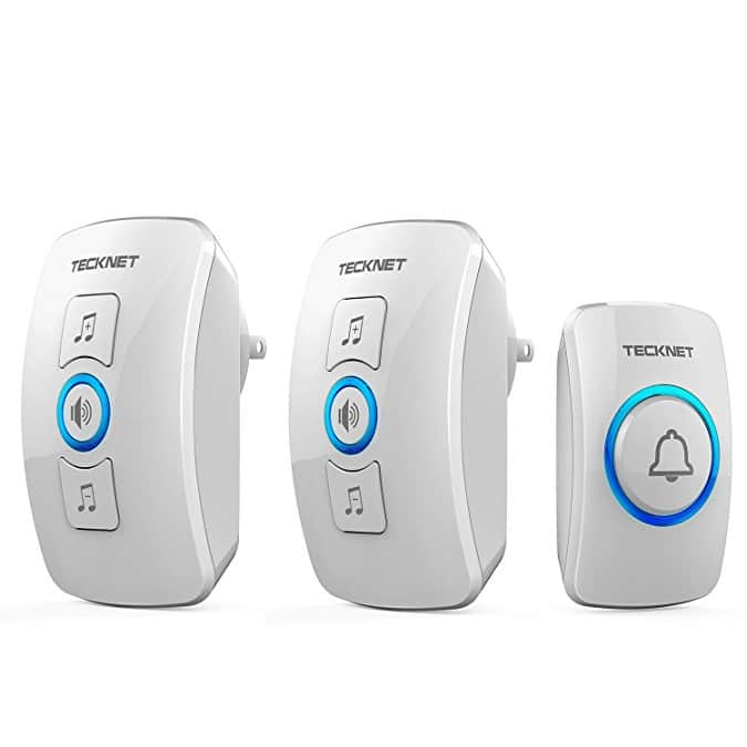 TeckNet Remote Wireless Door Bell Chime Kit with LED Light, 2 Plug in Receivers and 1 Waterproof Push Button $11.89