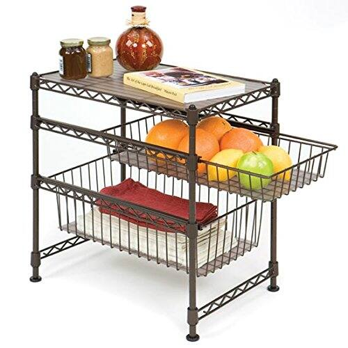 "Seville Classics Stackable 3-Tier Sliding Double Basket Cabinet Organizer with Bonus Liners, 11.5"" W x 17.5"" D x 18.5"" H, Satin Bronze        $21.47"