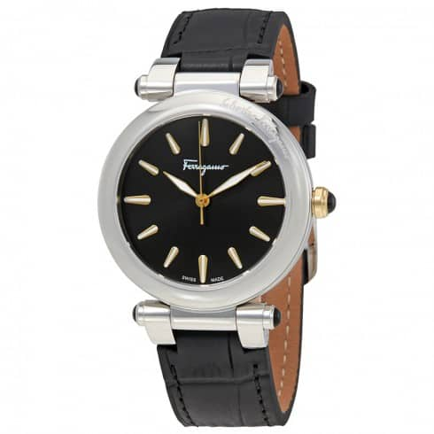 Ferragamo Idillio Black Dial Ladies Leather Watch $295