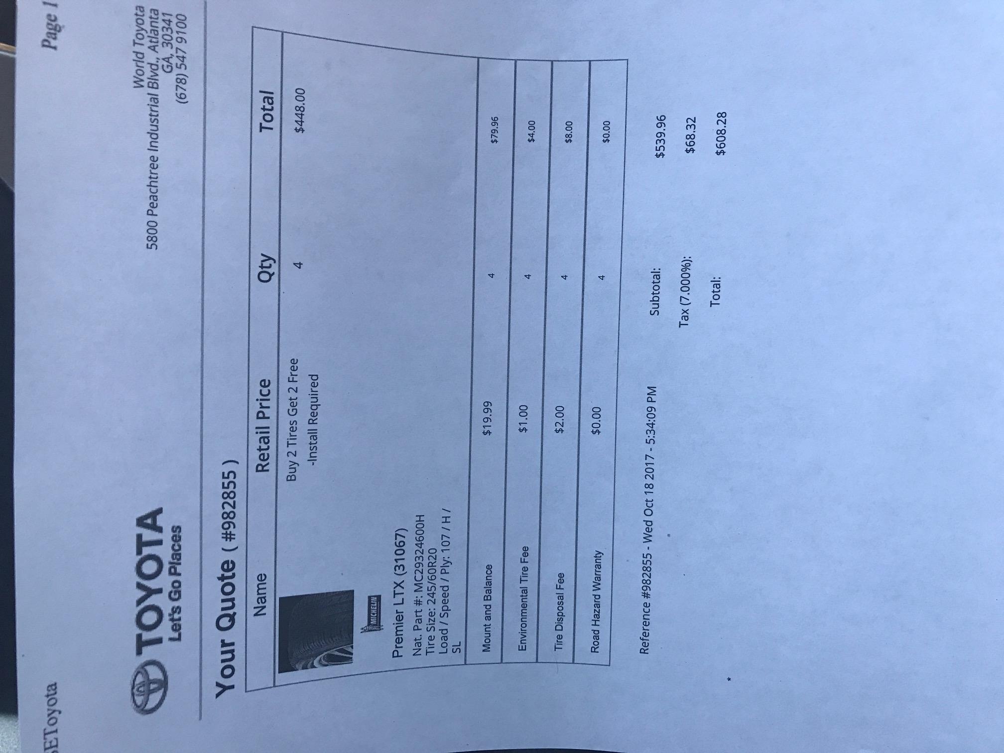 World Toyota (Atlanta Ga) Buy 2 tires, get 2 free