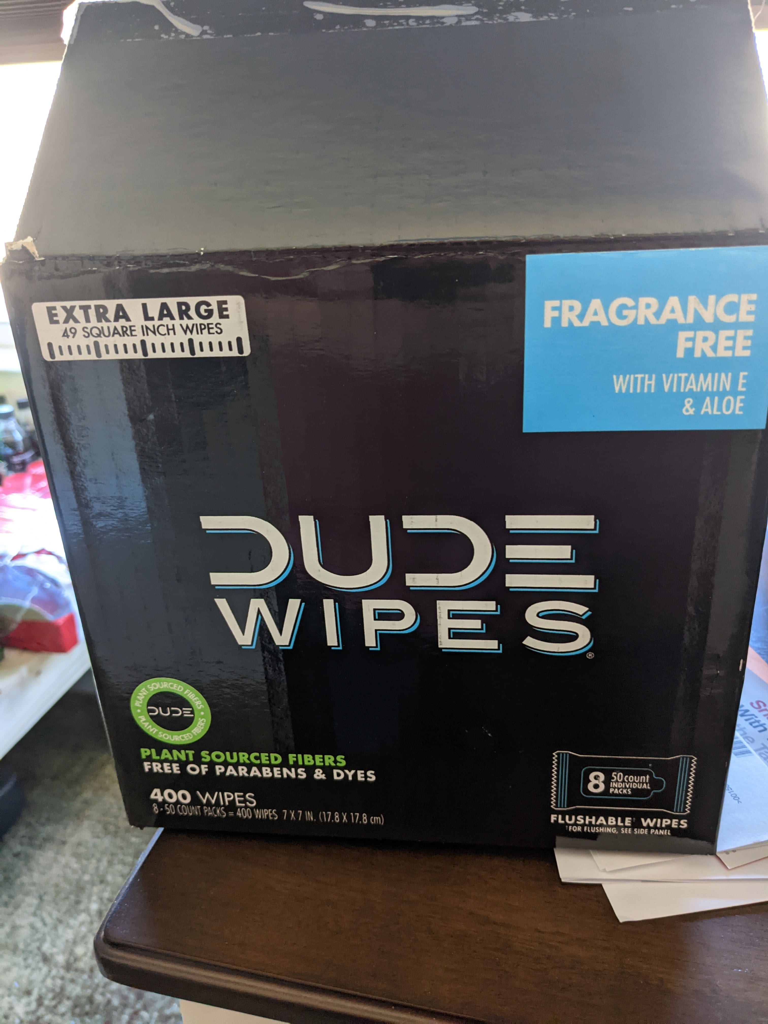 DUDE Wipes, Flushable Wipes, Extra Large and Fragrance-Free Wipes (400 ct.) $6.61 in store clearance Sams Club