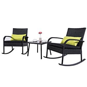 Outdoor 3 Piece Rattan Rocking Chair Bistro Set Black @Amazon $119.99+Shipping $39.99 $159.98