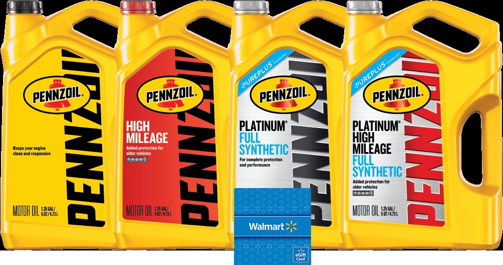 Buy Pennzoil motor oil two 5qt. jugs get 10$ gift card at Walmart
