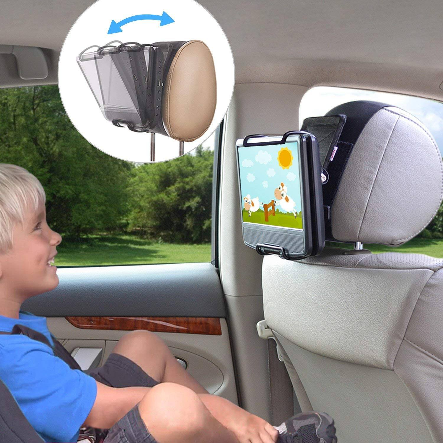 Universal Car Headrest Mount Holder with Angle- Adjustable Holding Clamp $9.75ac@Amazon+Fss