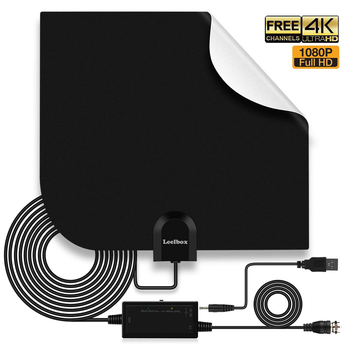 Leelbox Tv Antenna Indoor Digital Hdtv Antenna 6080 Mile Range