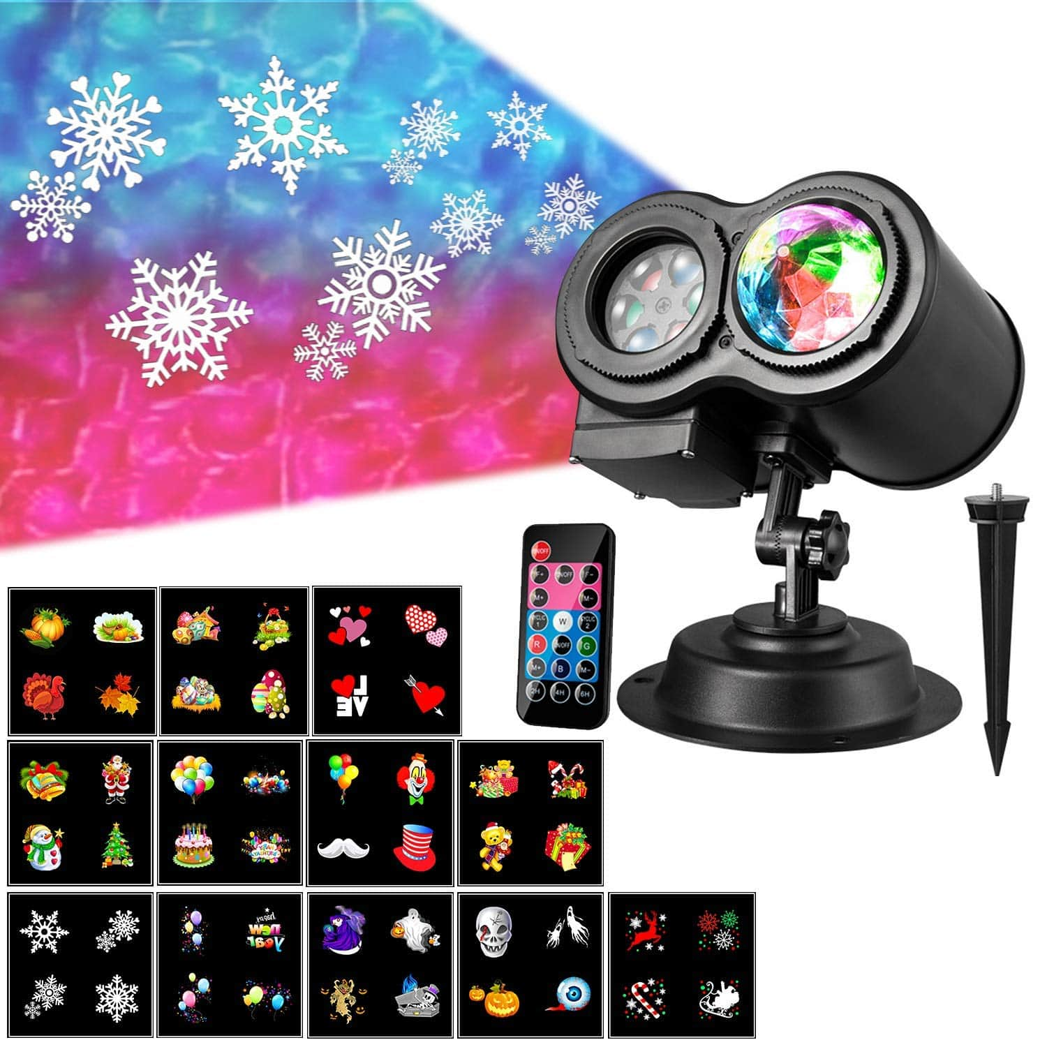 Christmas Projector Lights with 12 Slides Moving Pattern 2 in 1 Outdoor $22.54