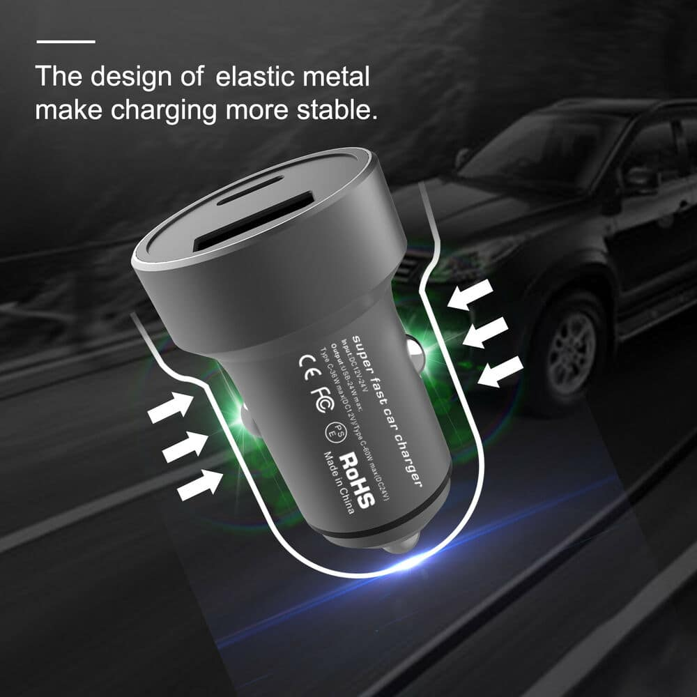 Dual Ports USB Type C PD Car Charger Adapter Max 60W For Iphone iPad Samsung $7.6