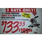 12 In. Double-Bevel Sliding Compound Miter Saw With Laser Guide System $113.65 Harbor Freight