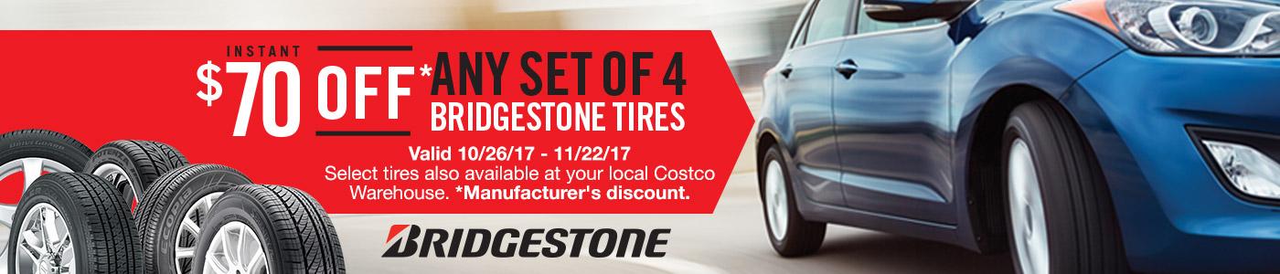 $70 off any set of 4 Bridgestone tires at Costco (10/26 to 11/22)
