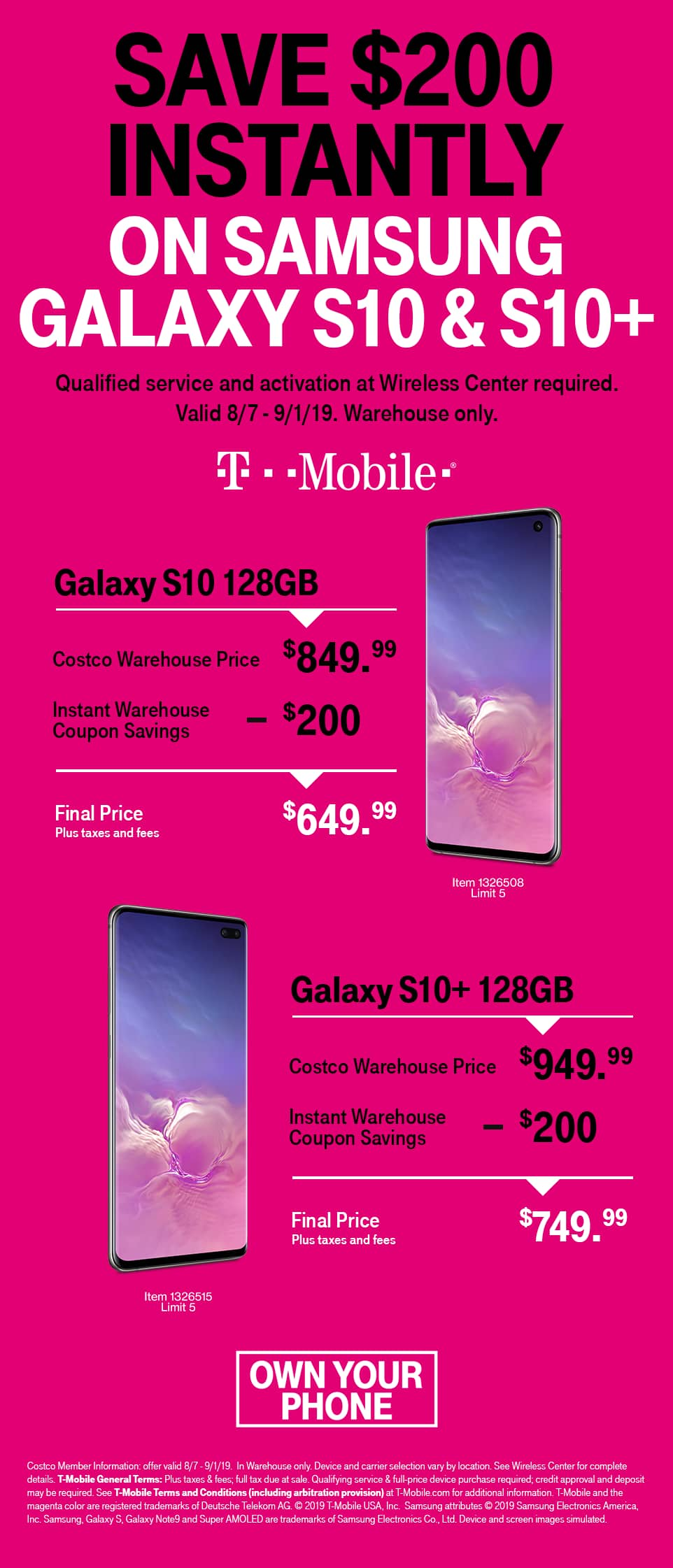 Costco In-Store Offer: T-Mobile Samsung Galaxy S10/S10+ for $650/$750 (Activation Required)