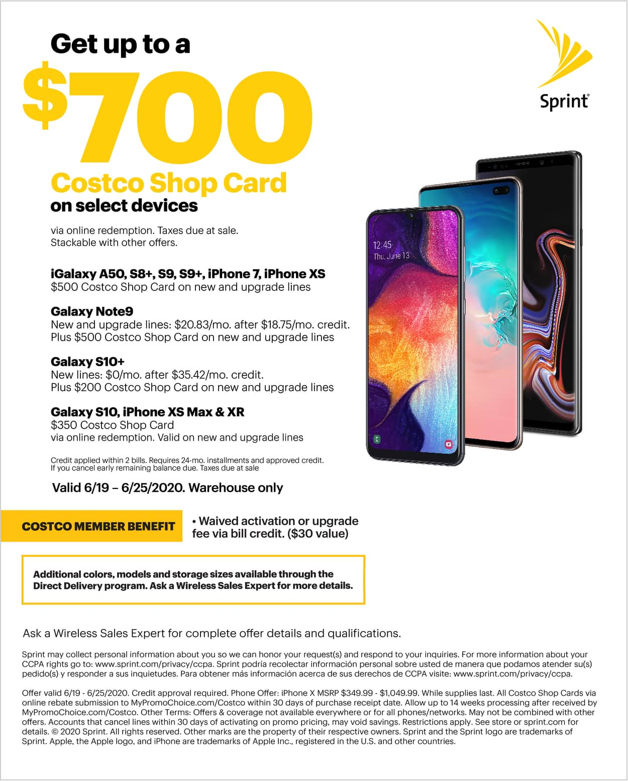 Costco In-Store: Buy iPhone XS (Sprint) for $600, Get $500 Back via Costco Shop Card