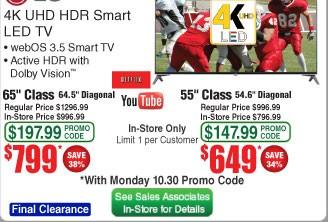 "LG 65"" UJ7700 Series 4K UHD HDR Smart LED TV $799"