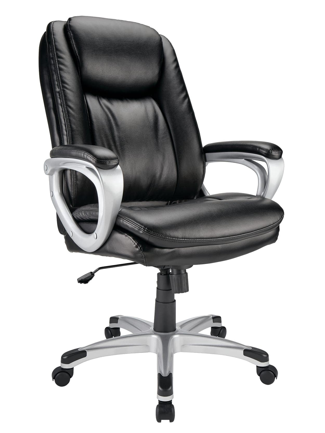Realspace® Treswell Bonded Leather High-Back Executive Chair, Black/Silver  $119.99 shipped OFFICE DEPOT (+ 5% back using Discover on Paypal)
