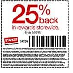 Staples B&M 25% back in rewards via coupon valid 6/14-20 on entire purchase (exlns apply)