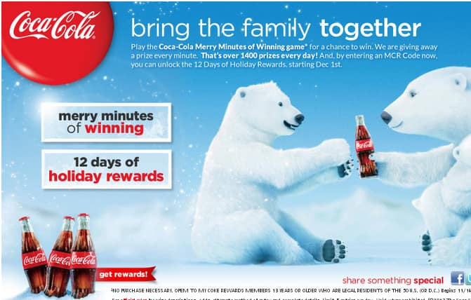 MyCokeRewards 12 Days Special Rewards 12/1-12/12 (McD, SW Air, Home Depot, Coke, Best Buy, Walmart, etc)