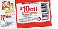 Target Deal: TARGET B&M $10 off $50 Grocery/Beverage purchase of $50+ (scan to be added, link to coupon up Sunday at target.com) exlusns apply valid 8/24-30