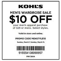 Kohls Deal: KOHLS $10 off $25 MENS APPAREL & Watches valid 3/1-3/15 .com or store (STACKS with % off Coupons too!)