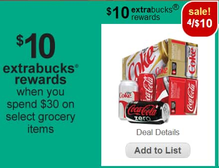CVS STORES (regional deal) Get TWELVE 12 packs of Coke 12oz cans for $20 a/Extra Bucks (lim 1 offer per card) Deal tracks, does not have to be in 1 order