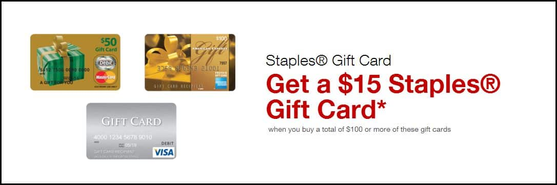 Staples Store 12/7-13 Buy $100+ in Prepaid AMEX/Visa/MC get $15 Staples GC ($9.05-$29.05 (Amex Offers) mm after activation fee) via EZ REBATE