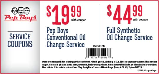 Pepboys Promo Code >> Pep Boys Oil Change 19 99 Conventional Or 45 Full Synthetic With