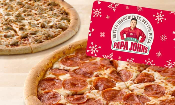 Papa Johns: Two Free Large One-Topping Pizzas w/ Purchase of $25 Voucher