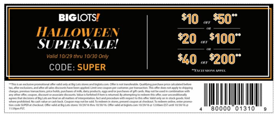 BIG LOTS $10 off $50, $20/$100 or $40 off $200 with Printable Q to 10/30 Only