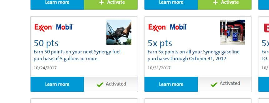 PLENTI (activate required) 5x points on all Exxon/Mobil Gas purchases to 10/31, also 50 points on 5 gals.