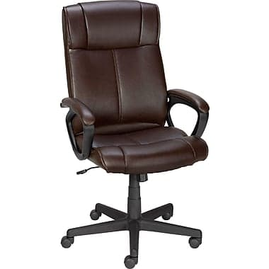 Highly Rated Staples® Turcotte Luxura® High Back Office Chair, Brown  $50 shipped STAPLES