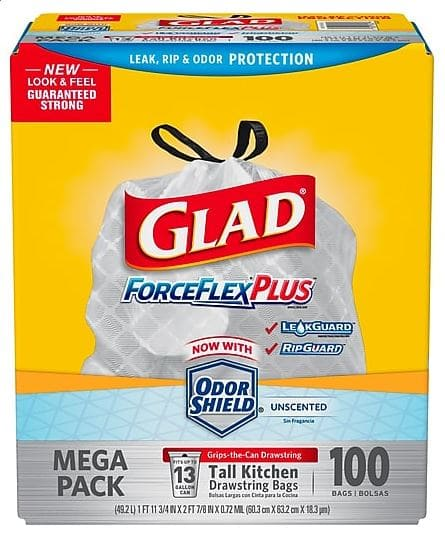 Glad® ForceFlex® Tall Kitchen Drawstring Trash Bags, 13 Gallon, 100 Bags/Box $10.24 free store pick up STAPLES