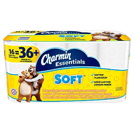OFFICE DEPOT free store PU: Charmin® Essentials Soft™ or Strong TP, 2-Ply, 200 Sheets Per Roll,  16 =36-41 Rolls $6.75 with sub/save, get back $3.38 in rewards limit 2