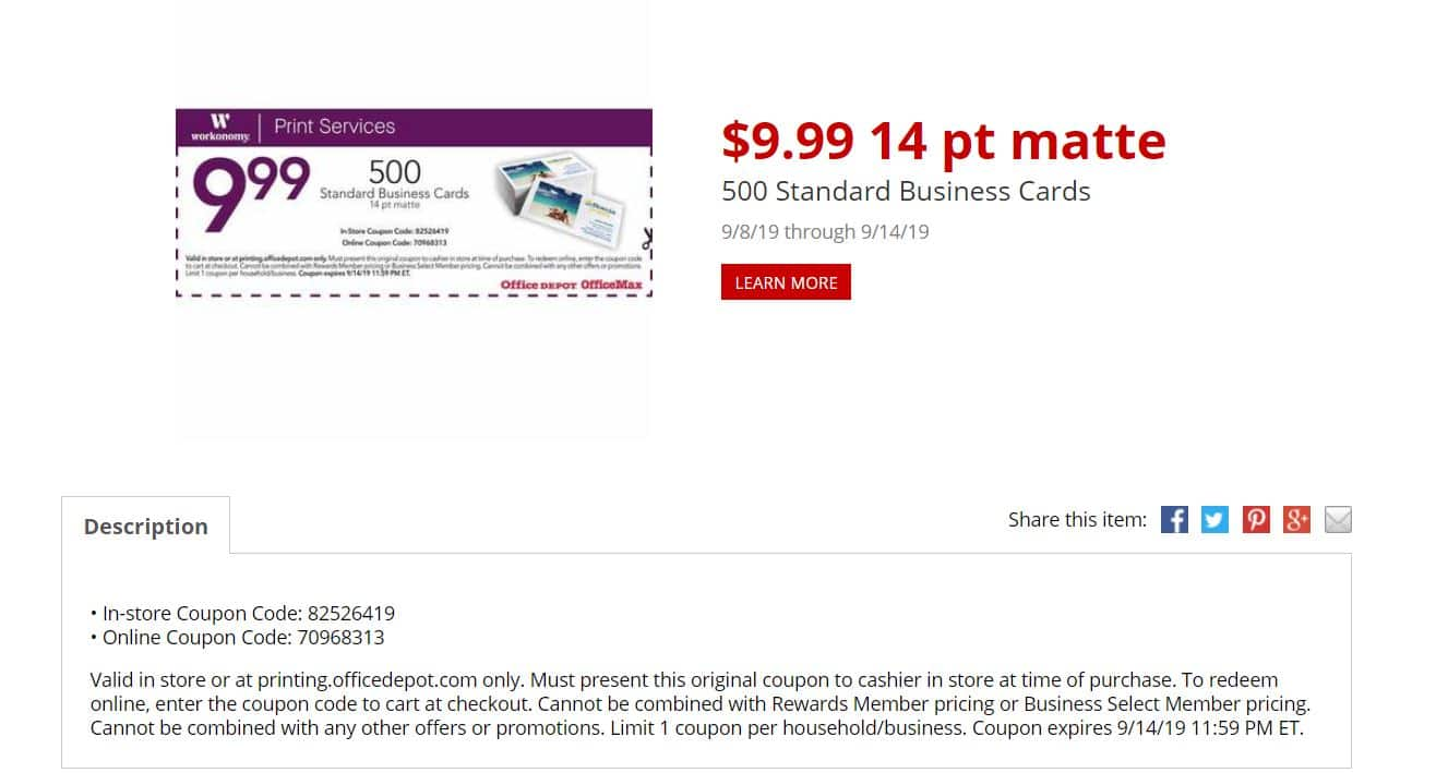 Office Depot/Max 500 Standard Business Cards $9.99 ac (in store or online w store PU)