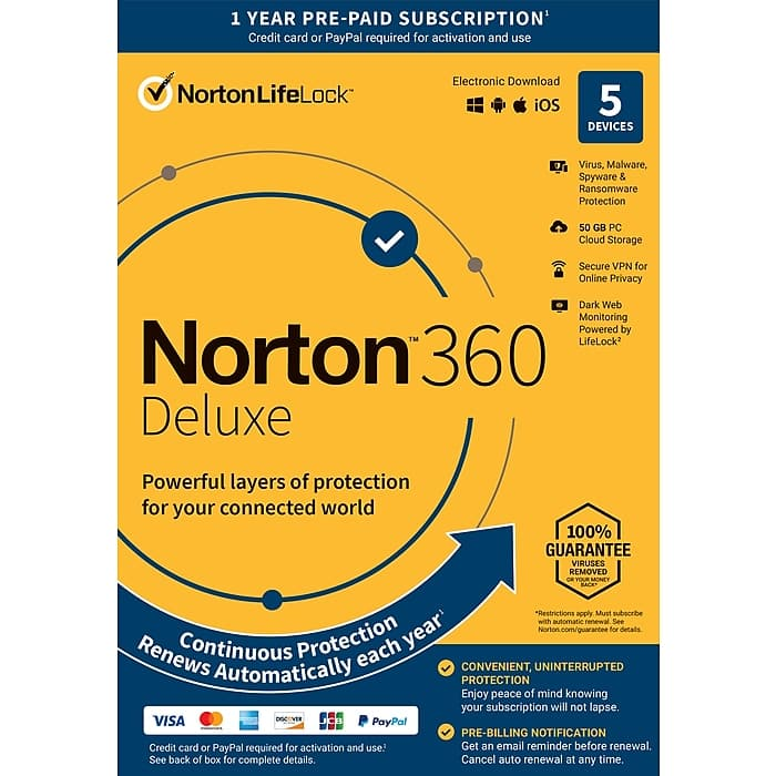 Norton 360 Deluxe 1 Year Subscription for 5 Devices, Windows/Mac/Android/iOS, Product Key Card (21392062) $20 shipped STAPLES