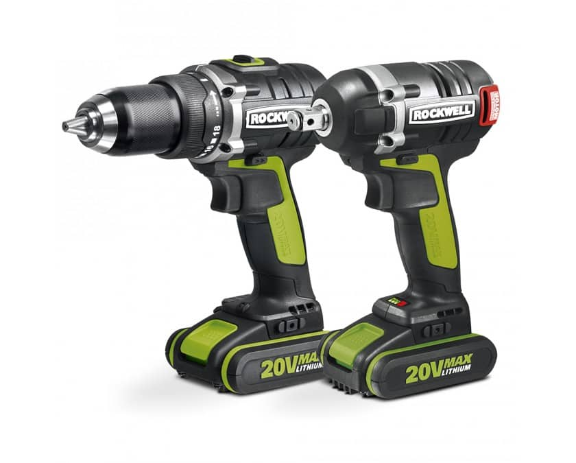 """Rockwell 20V MAX Brushless Drill & 1/2"""" Impact Wrench Combo Kit """"20 year battery warranty""""."""