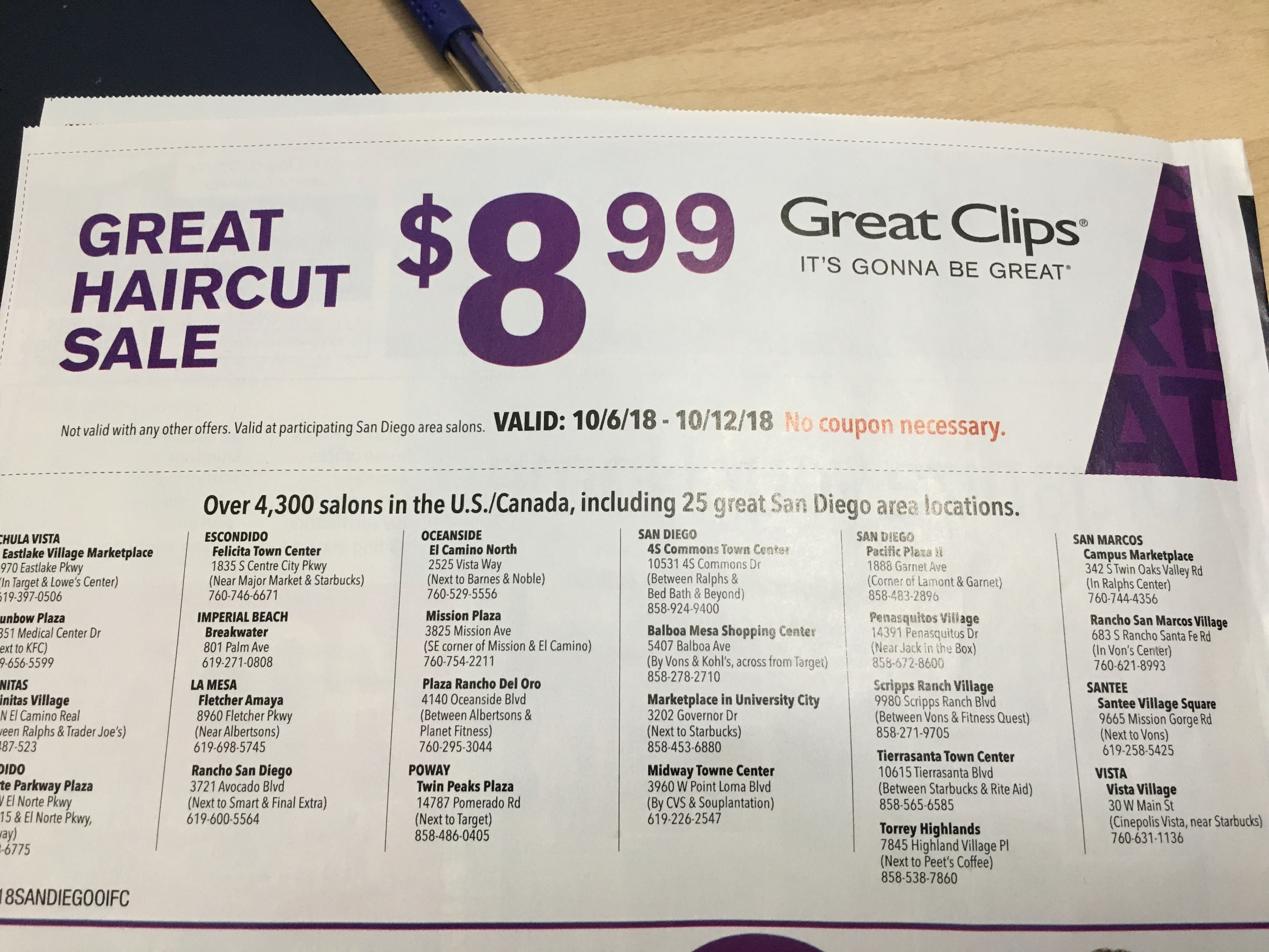Great Clips Hair Cut 899 San Diego Area California Oct 6th To 2018