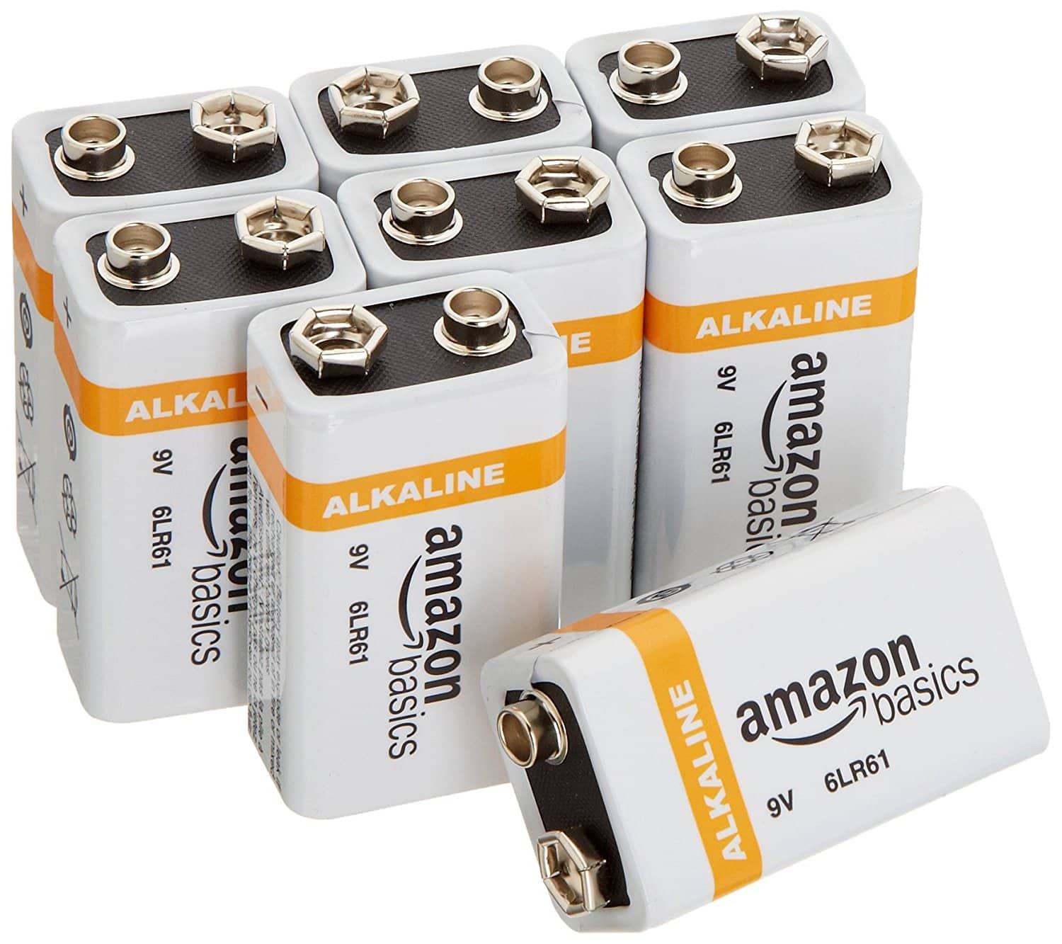AmazonBasics 9 Volt Everyday Alkaline Batteries (8-Pack) for $9.49