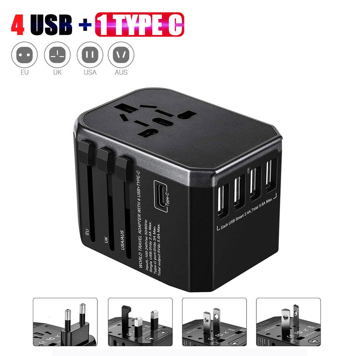 Universal Quick Charger Travel Adapter With 4 Usb Type C 13 99 Free Shipping